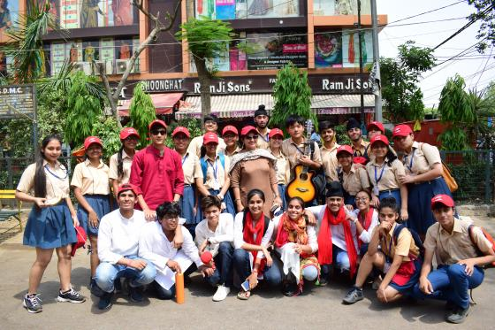 Group photograph of students after Road Safety Campaign in a public area