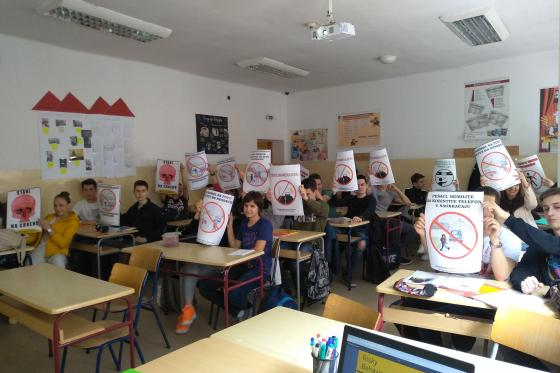 Road Safety For All 14th Belgrade Gymnasium; Students holding posters