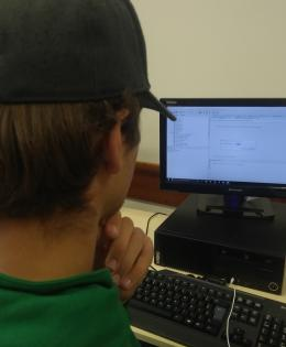 Student doing one of the programming steps.