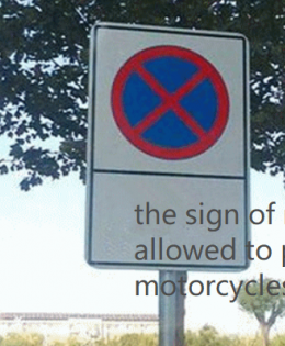 the traffic sign of not allowing to park e-motorcycles